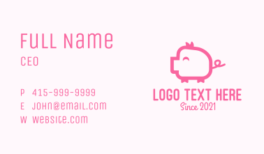 Cute Pink Pig  Business Card
