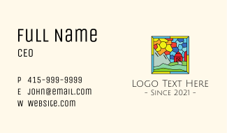 Stained Glass Outdoor Barn House Business Card