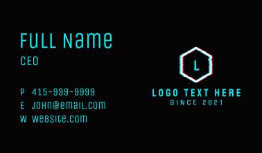 Hexagon Glitch Letter  Business Card