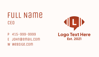 Football Chat Lettermark Business Card