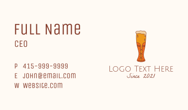 Corset Beer Glass  Business Card