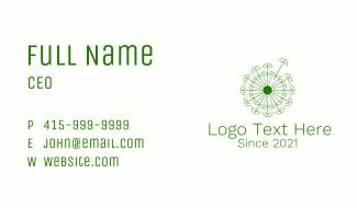 Minimalist Green Dandelion Business Card