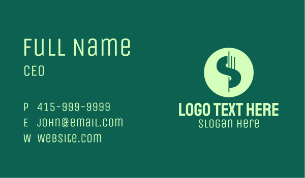 dollar sign - Dollar Currency Letter S Business card horizontal design