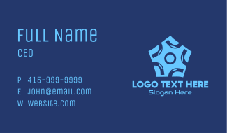 Blue Circle Pentagon Business Card