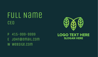 Organic Green Leaves Business Card
