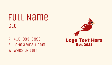 Cute Cardinal Bird Business Card