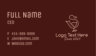 Heart Duck Animal Business Card