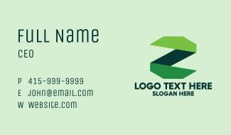 Green Ribbon Letter Z Business Card