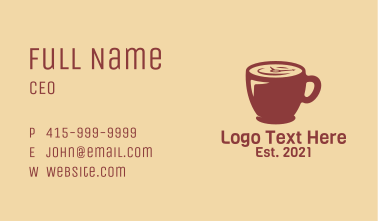 Coffee Cup Clock Business Card