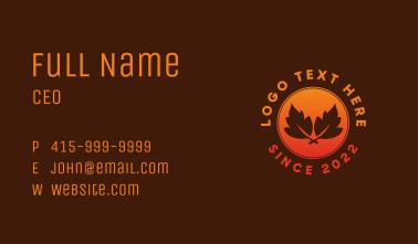 Autumn Leaf Emblem Business Card