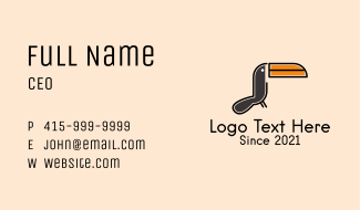 Toucan Bird Mascot Business Card