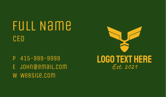 Golden Military Badge Business Card