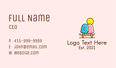 Summer Ice Cream Popsicle Business Card