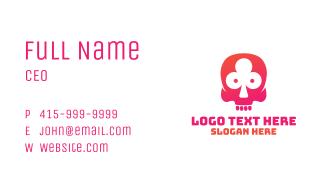 Pink Skull Gambler Business Card