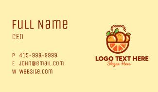 Orange Fruit Basket Business Card