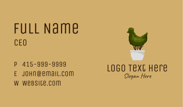 Chicken Topiary Plant Business Card