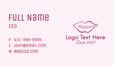 Pink Monoline Lips Business Card