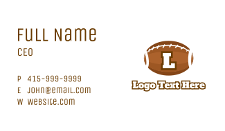 Football Team Sports Letter Business Card