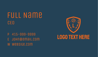 Orange Volleyball Wings Business Card