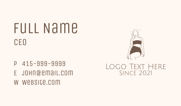 lingerie - Brown Sexy Woman Business card horizontal design