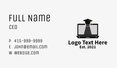 Laptop Online Learning  Business Card