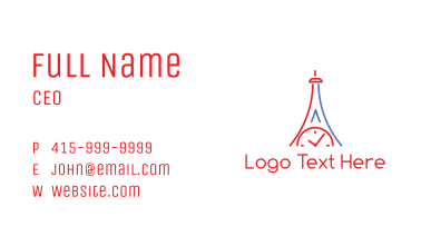 Clock Tower Outline Business Card
