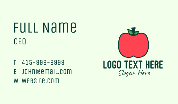 red apple - Red Organic Apple Business card horizontal design