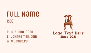 Ornate Wooden Vintage Chair Business Card