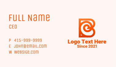 Abstract Orange Letter B Business Card