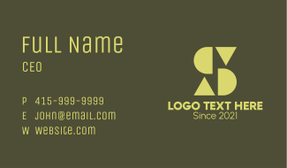 Shapes S & D Monogram Business Card