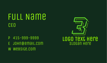Neon Retro Gaming Number 3 Business Card