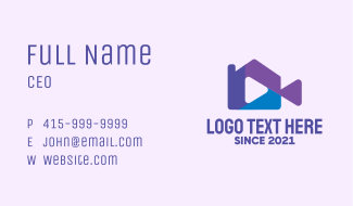 Home Video Player Business Card