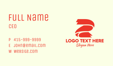 Red Ribbon Letter Z Business Card