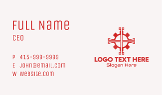 Red Mechanical Gear Business Card