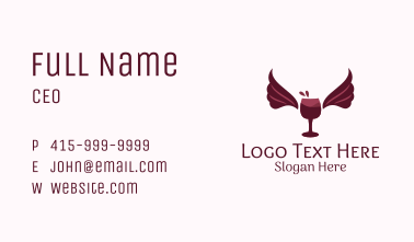 Wings Wine Glass  Business Card
