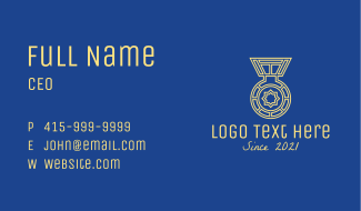 Athletic Medallion Award  Business Card