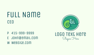 Minimalist Chameleon Lizard Business Card
