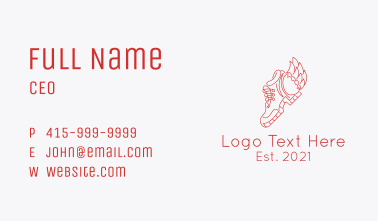Fire Wing Sneaker Boot Business Card