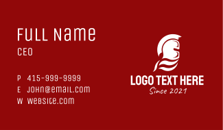 White Spartan Helmet Business Card