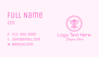 Pink Flower Badge Business Card