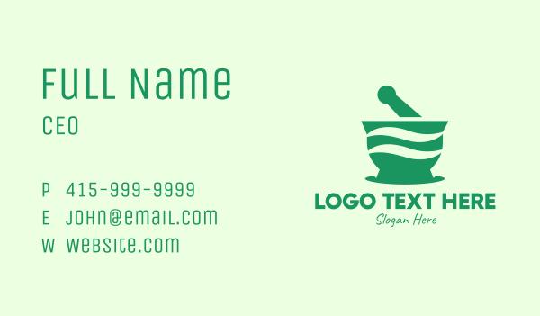 pharmacist - Green Mortar & Pestle Business card horizontal design