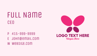 Pink Minimalist Butterfly Business Card