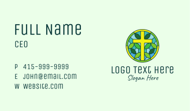 Herbal Cross Stained Glass Business Card