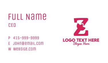 Pink Letter Z Flower Business Card