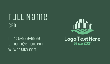 Cityscape Leaf Business Card