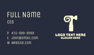 Horn Hammer Letter T Business Card