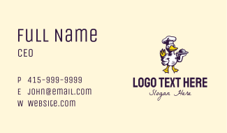 Goose Chef Mascot Business Card