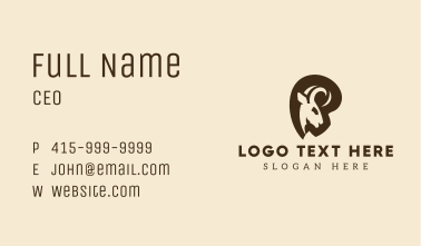 Curled Horns Ram Business Card