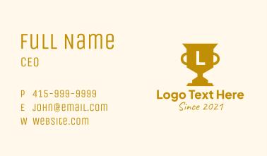 Golden Trophy Letter Business Card