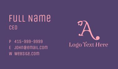 Pink Florist Letter A  Business Card